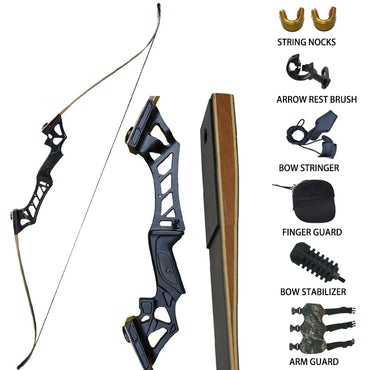 Re curve Take Down Hunting Bow Set 30-60,lbs With Accessories For Outdoor Training Shooting Target Archery Longbow Black Camouflage