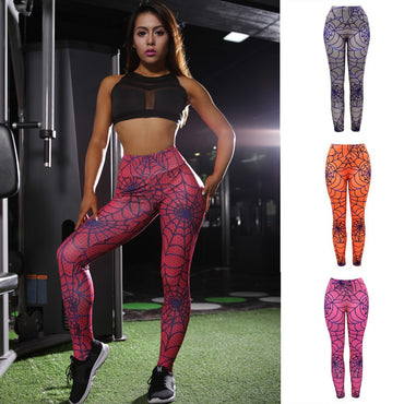 Women High Waist Yoga Mesh Print Legging Running Sports Pants Trouser