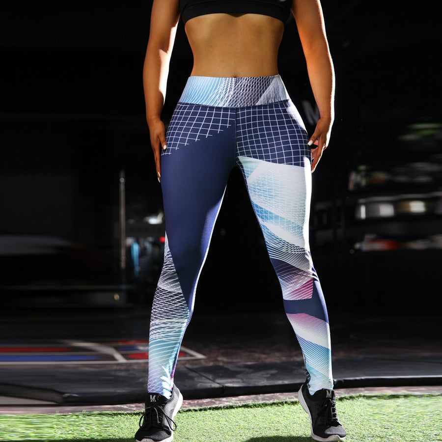 Women High Waist Yoga Geometric Print Legging Running Sports Pants Trouser