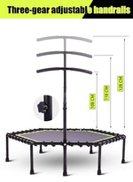 48 Inch Hexagonal Muted Fitness Trampoline with Adjustable Handrail for Indoor GYM Jump Sports Adults Kids Safety