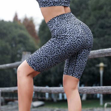 Women High Waist Yoga Leopard Print Splice Legging Running Sports Short Pants