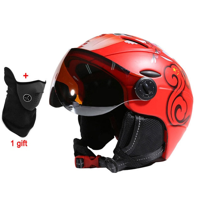 Professional Half-covered CE Ski Helmet Integrally-molded Sports man women Skiing Helmets Snowboard with Goggles Mask