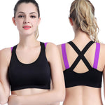 Sexy Sports Bra Top for Fitness Women Push Up Cross Straps Yoga Running Gym Active Wear Padded Underwear Crop Tops Female