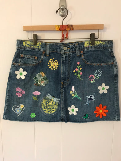 UPCYCLED DENIM MINI SKIRT