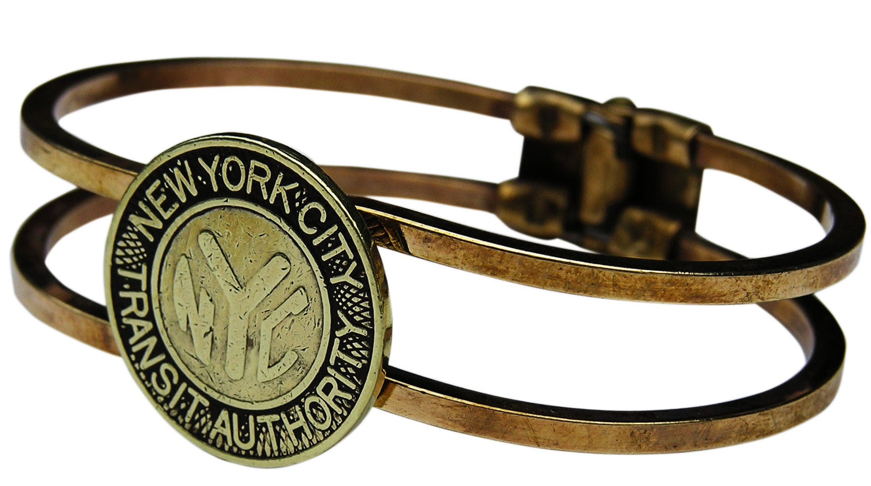 "NYC ""Solid Y"" Subway Token Hinge Bracelet"