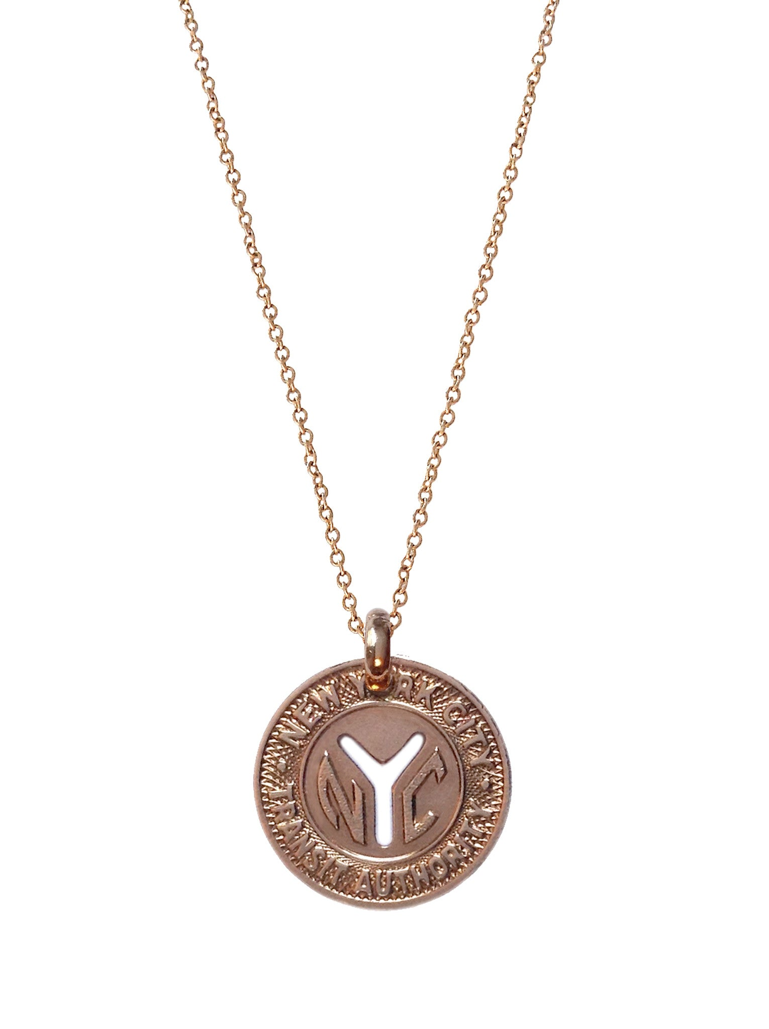 "NYC ""Small Y"" Subway Token (Rose Gold Plated)"