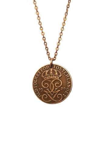 Tiny Heraldic Swedish Coin Necklace