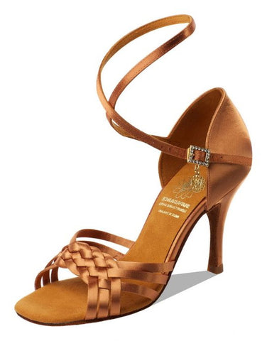 Supadance 1178 Dark Tan Satin open toe sandal