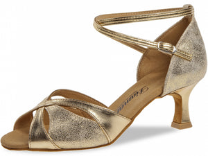 Diamant 141-077-464 Gold Synth/Anitque Suede with  2inch Flared Heel