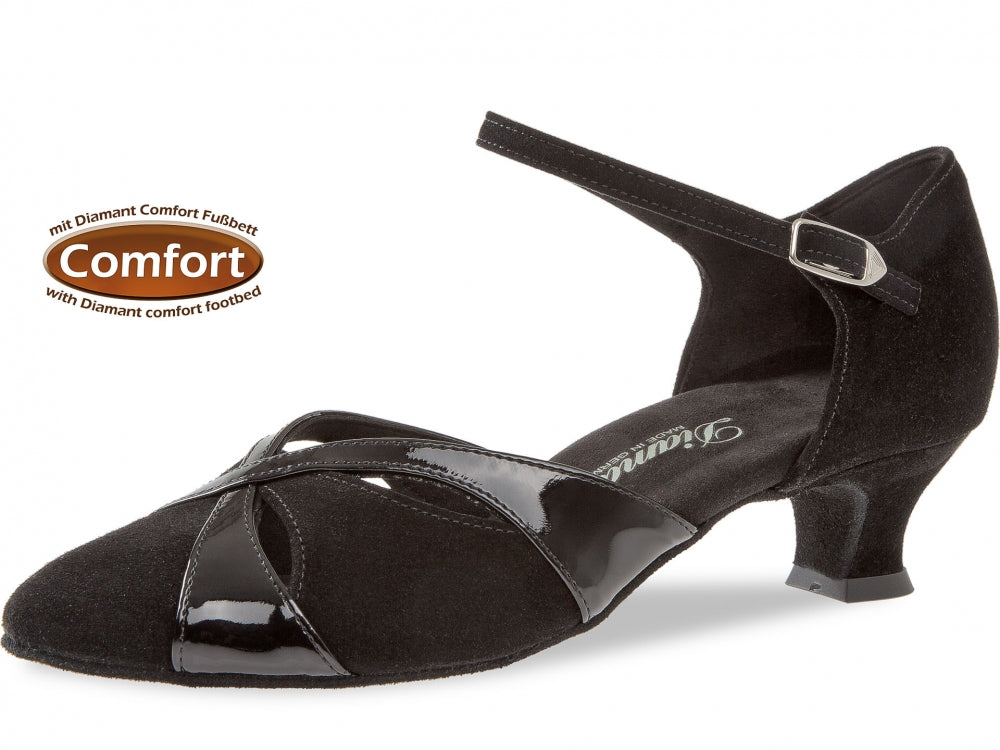Diamant 142-014-008 Comfort Black Suede/Black Patent Wide Fit