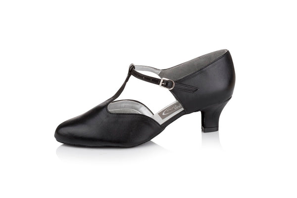 Freed of London - Moonstone red or black leather ladies closed toe shoe