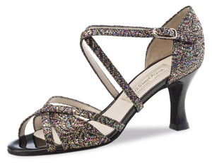 Werner Kern - July multi brocade/black patent heel
