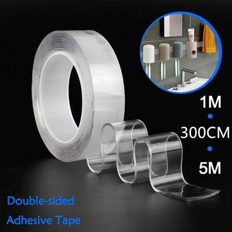 1/2/3Metre Transparent Double Sided Reusable Nano Self-Adhesive Tape Glue Sticker for Car Party Supplies