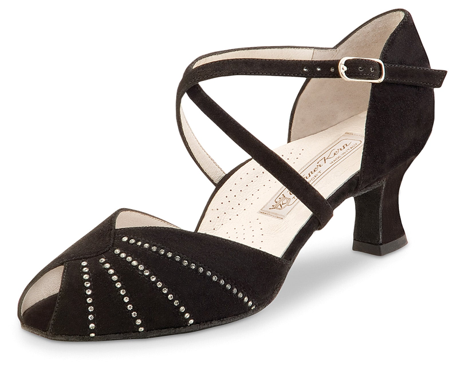 Werner Kern -Sonia comfort black suede with crystals