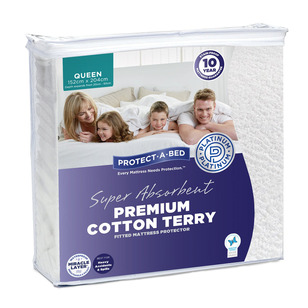 Protect-A-Bed Premium Cotton Terry Long Single Mattress Protector