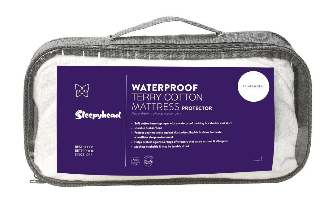 Sleepyhead Waterproof Terry Cotton Mattress Protector Pack Single