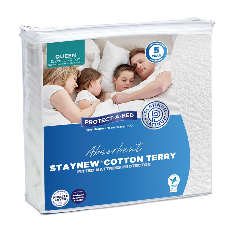 Protect-A-Bed StayNew Cotton Terry Long Double Mattress Protector