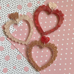 Frilly hearts dangles