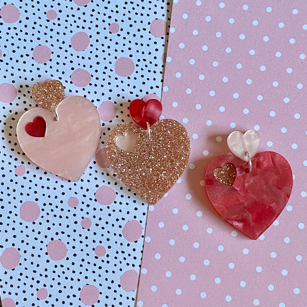 Cupid heart earrings