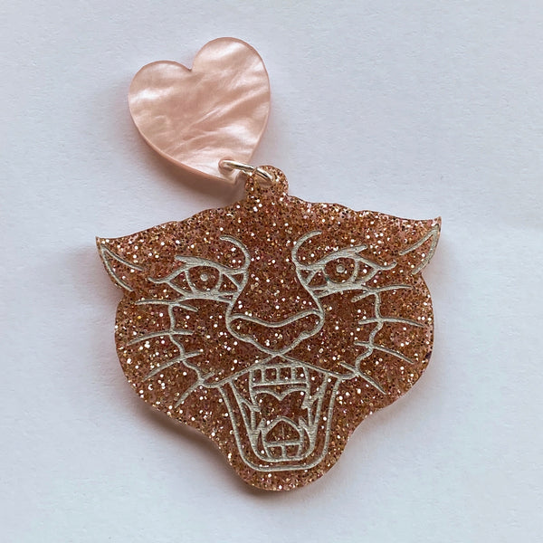 Cupid etched panther dangles