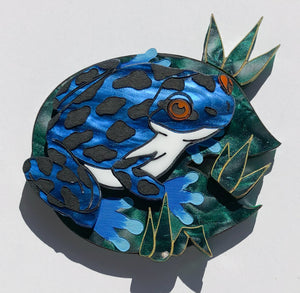 Big bad blue frog brooch