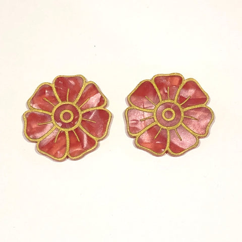 Big red flower studs