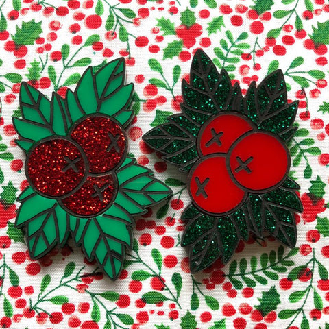 Festive Flash Holly Brooch
