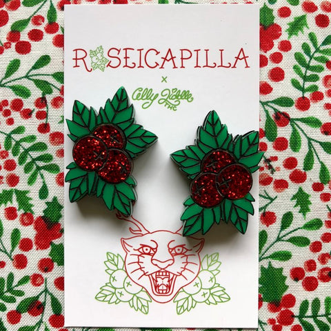 Festive Flash Holly Studs