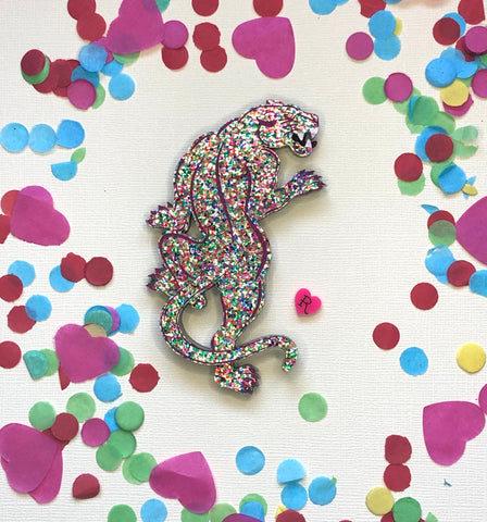 Confetti traditional panther brooch