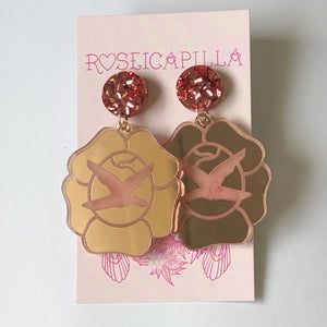 Etched Rose Earrings