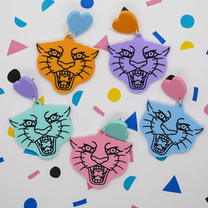 Cupid etched panther dangles - Pastel Dreams