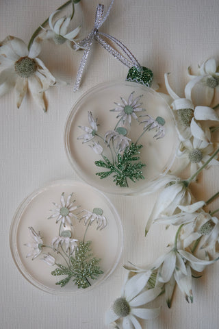 Fragile Flannel Flower Bauble brooch
