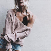 V-neck Loose Casual Knitted Sweater