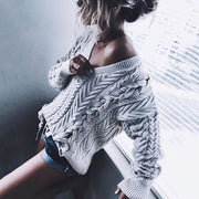 Casual V-Neck Twist Woven Loose Sweater
