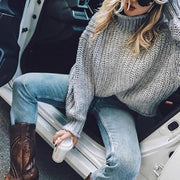 High Collar Thick Knit Sweater