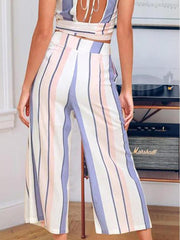 Color Stripe Wide Leg Pants And Sleeveless Vest Two-Pieces Suits