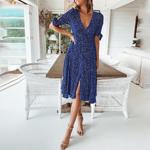 Fashion Print Polka Dot Button   Dress