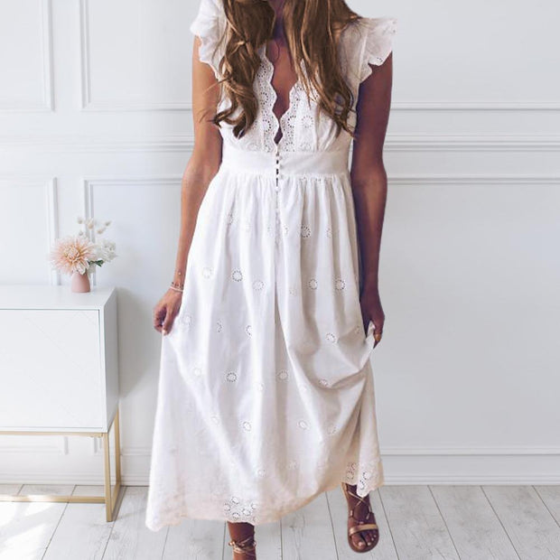 V-neck and ruffles Casual dresses
