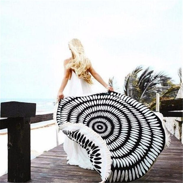 Round beach towel tassel sunscreen shawl
