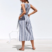 Fashion Casual Striped Straps Jumpsuit