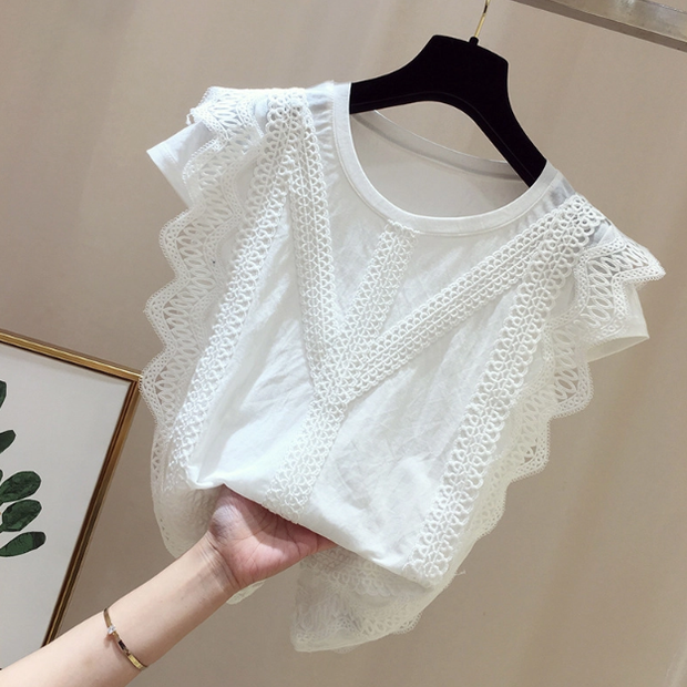 Elegant Splicing Round Neck Short Sleeve Chiffon Top