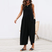 Casual Round Collar Plain Loose Sleeveless Jumpsuit