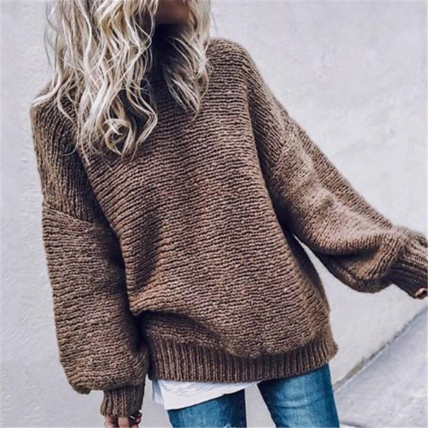 Women's round neck solid color puff sleeve sweater