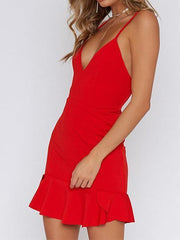 Women's New Halter Halter Ruffle Dress