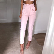 Casual Pure Color High Waist Long Pants