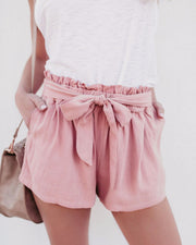 Loose High Waist Tie Casual Wide Leg Short Pants