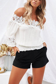 Off Shoulder  Patchwork Plain  Blouses