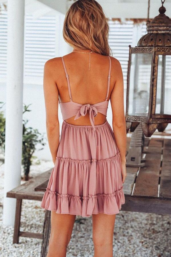 Spaghetti Strap  Backless  Plain  Sleeveless Skater Dresses