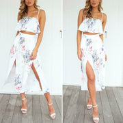 Fashion Floral Print Two-Piece Top Split Pants