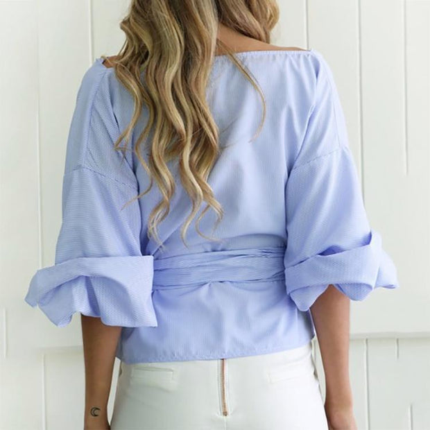 Sexy V-Neck Backless Cross Strappy Shirt